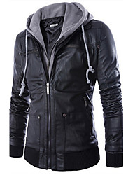 Men's European Style False Two Hooded Leather Motorcycle Jacket , Hoodie