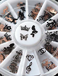 New! 12Designs 3d Metal Christmas Nail Art Decoration Slice Black Nail Sticker Decal Wheel