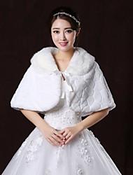 Fur Wraps / Wedding  Wraps Capelets Sleeveless Faux Fur White Wedding / Party/Evening V-neck Lace-up