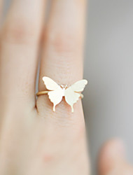 Women Fashion Simple Gold Plate Butterfly Pattern Ring
