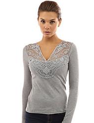 Damen T-Shirt  -  Stickerei Polyester Langarm V-Ausschnitt