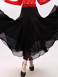 Ballroom Dance Dresses&Skirts Women's Performance Milk Fiber Draped 1 Piece Black / Red