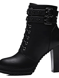 Women's Shoes Synthetic Chunky Heel Snow Boots / Motorcycle Boots / Combat Boots Boots Dress / Casual Black / Taupe