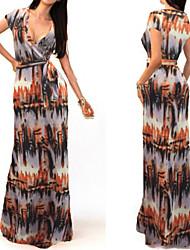 Women's Print Multi-color Sexy / Print / Maxi Deep V Short Sleeve Dress