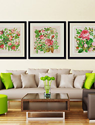 Flowers Pictures Frame Coffee House Frames Wood Frame with Canvas with Plastic Organic Glass 3Pieces/set