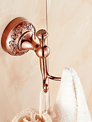 Neoclassical Rose Gold Finish Brass Wall Mounted Robe Hooks