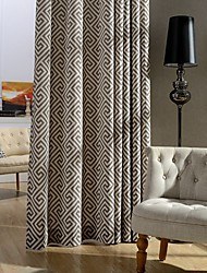 Two Panel Modern Printed Cotton Energy Saving Curtains Drapes