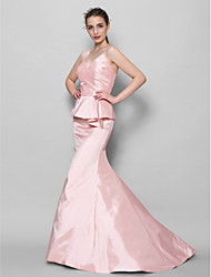 Sweep / Brush Train Taffeta Bridesmaid Dress Trumpet / Mermaid Sweetheart with