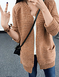 Women's Long Cardigan,Solid Pink Brown Green Cowl Long Sleeve Polyester Fall Medium Micro-elastic