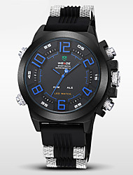 WEIDE® Men's Brand Luxury Double Time LED Black Rubber Band Sports Watch Cool Watch Unique Watch