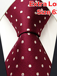 Men's Tie  Dots  Burgundy Wedding 100% Silk Business