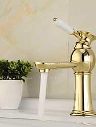 High Quality Contemporary Brass Hot And Cold Basin Faucet - Golden