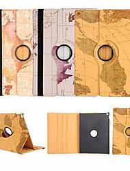 de alta qualidade bolsa de couro pu mapa 360⁰ função caso estande projeto para ipad 4/3/2