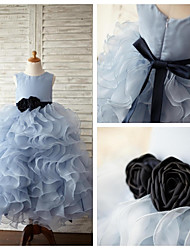 Ball Gown Floor-length Flower Girl Dress - Organza / Satin Sleeveless