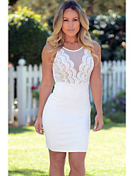Women's Sleeveless Lace Mesh Flirt Mini Dress