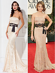 TS Couture Formal Evening / Military Ball Dress - Champagne Plus Sizes / Petite Trumpet/Mermaid Strapless Sweep/Brush Train Lace