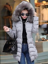 Women's Long Padded Coat Solid-Polyester Polyester Long Sleeve Stand
