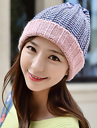 Women Variegated Striped Pointy Knitting Hat