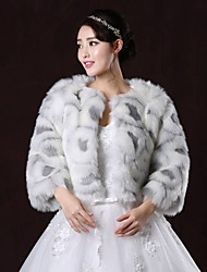 Fur Coats / Fur Wraps / Wedding  Wraps Coats/Jackets 3/4-Length Sleeve Faux Fur As Picture Shown Wedding / Party/Evening ScoopFeathers /