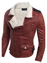 Men Lamb Fur / Faux Leather Top , Fleece Lining