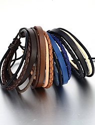 Sales! Vintage Handmade Woven Leather Bracelet Adjustable Flexible Men's Bracelet