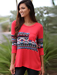Women's Print Red Blouse , Round Neck ¾ Sleeve