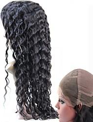 cheveu humain brésilien pleine perruque de dentelle 130% # 1b # 2 profonde sans colle ondulés perruque perruques dentelle suisse