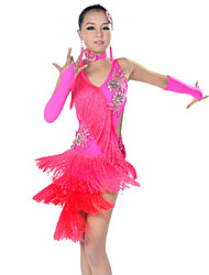 Latin Dance Outfits Women's Performance Spandex / Polyester Tassel(s) 5 Pieces 6 Colors