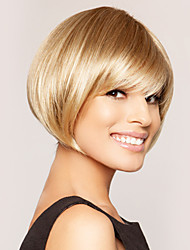 High Quality Capless Human Virgin Remy Hand Tied Top Short Straight Hair Wigs