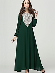 Women's Simple Loose / Chiffon Dress,Solid Round Neck Maxi Long Sleeve Blue / Red / Black / Green Polyester Fall