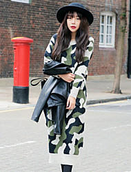 Women's Korea Camouflage Round Long Sleeve Knit Dress