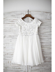 Sheath / Column Knee-length Flower Girl Dress - Chiffon Short Sleeve Scoop with