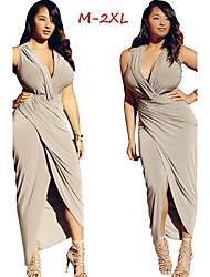 Women's Solid Color Multi-color Dresses , Sexy / Bodycon V-Neck Sleeveless