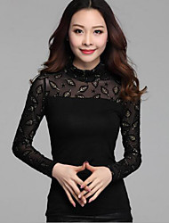 Women's Lace Patchwork Leaf Choker Base Shirt , Turtleneck Long Sleeve