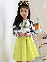 Girl's Pink / Yellow Clothing Set , Stripes Cotton Winter / Fall