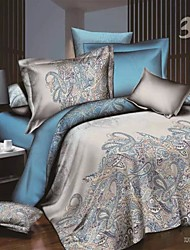 Floral Poly/Cotton 4 Piece Duvet Cover Sets