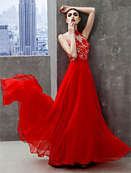 TS Couture® Formal Evening Dress A-line High Neck Floor-length Chiffon with Appliques