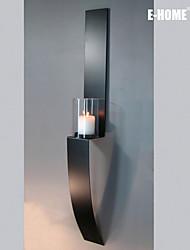 e-home® decoração da parede de arte de parede de metal, forma singular castiçal preto decoração da parede dois pcs