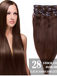 "24"" Medium Brown(#4) 8pcs Clip In Human Hair Extensions"