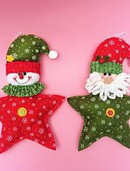 "2PCS/SET 27CM/10.6"" Christmas Decoration Gift Hanging Star Santa Claus Snowman Doll Plush Toy New Year Gift"