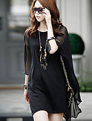 Women's Solid Black Dress (chiffon)