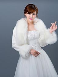 Envolturas de boda / Chales de Piel Abrigos / Chaquetas Manga larga Piel sintética Blanco Boda Festoneado Abertura frontal