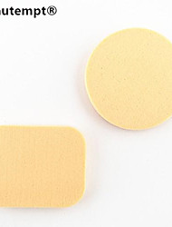 2pcs 2en1 seco&plaza húmeda&soplo de polvo de esponja de microfibra redonda para colorete fundamento corrector
