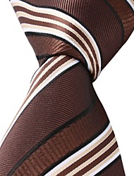 Classic Coffee White Jacquard Woven Silk Men Necktie Tie