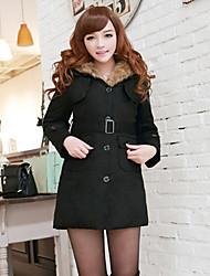 Women's Solid Color White / Black Coats & Jackets , Vintage / Casual / Work V-Neck Long Sleeve
