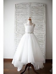 A-line Asymmetrical Flower Girl Dress - Lace / Satin / Tulle Sleeveless