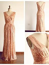 Formal Evening Dress Sheath/Column V-neck Floor-length Sequined