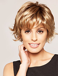 "Fluffy Short Wavy Human Hair Virgin Remy 1""Monofilament Top Woman's Capless Wig"