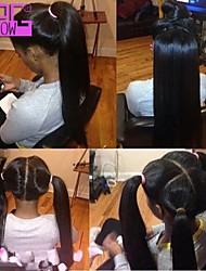 peruanische reine seidige gerade volle Spitze menschliches Haar Perücken Babyhaar für Afrika Amerikaner Pferdeschwanz werden