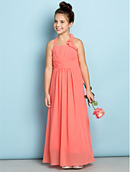 Ankle-length Chiffon Junior Bridesmaid Dress - Watermelon Sheath/Column Halter